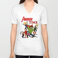 avenger V-neck T-shirts featuring Avenger Time! by ArtisticCole
