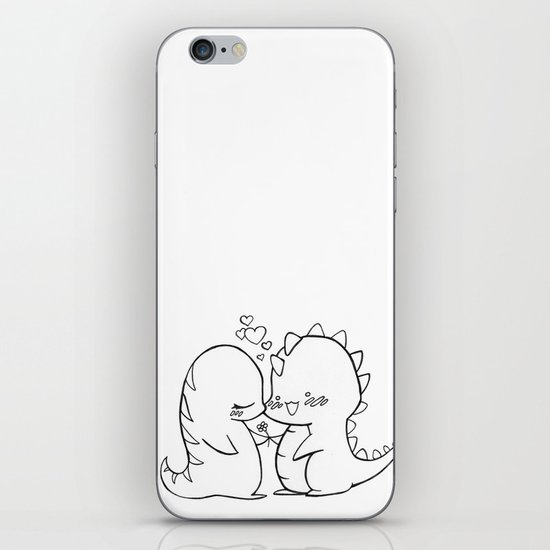 Dino Love Black and White iPhone & iPod Skin