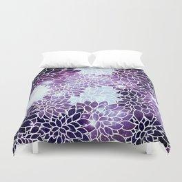 Space Dahlias Purple Ice Duvet Cover