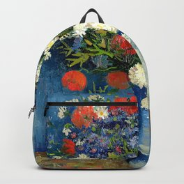 Vase With Cornflowers And Poppies Backpack