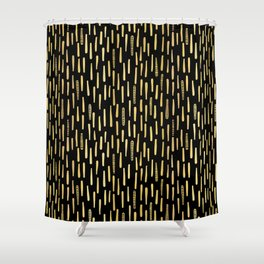 Black Gold Foil Lines Stripes Pattern Seamless Vector Hand Drawn Shower Curtain