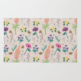 Cottage Garden Flowers Rug