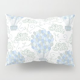 Vintage hot air balloons line drawing pastel blue Pillow Sham