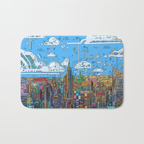 new york city skyline colorful Bath Mat