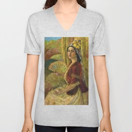 African American Masterpiece 'Madame Lillian Evanti as Rosina in Barber of Seville by Lois Jones Unisex V-Neck