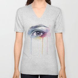 Colorful Eye Dripping Rainbow Unisex V-Neck
