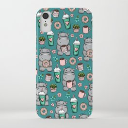 Cute Little Hippo, Lattes and Donuts, Pink and Blue Illustration, Happy Hippopotamus, For Girls iPhone Case