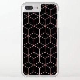 Rose Gold/Copper and Black Geometric Clear iPhone Case