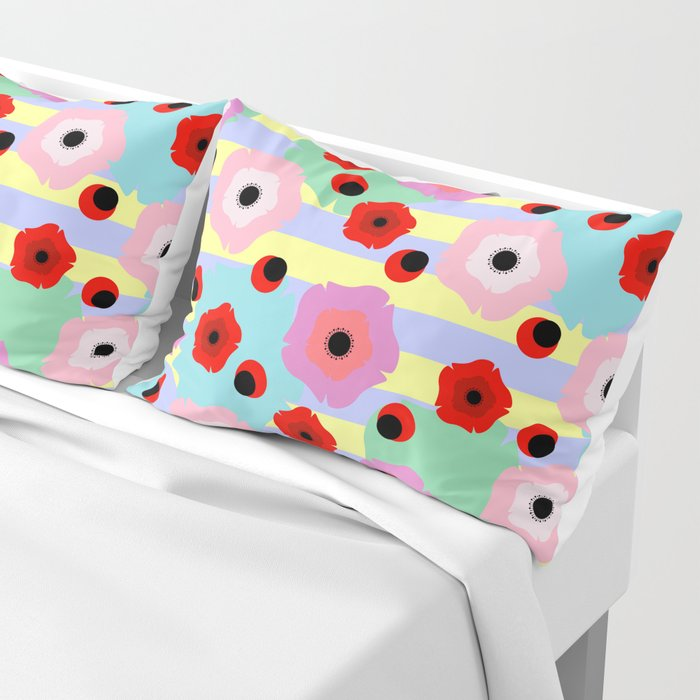 Poppies and stripes Pillow Sham