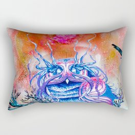 """G0d king owl"" animal art , bird art . Surrealism Rectangular Pillow"
