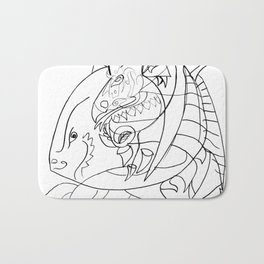Dragon with horse Bath Mat