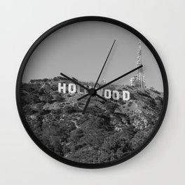 Hollywood Sign Black & White, California Vintage, Retro, Fine Art Photography Wall Clock