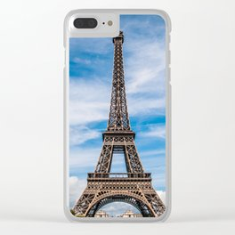 Eiffel Tower Before Cloud Streaked Sky Clear iPhone Case