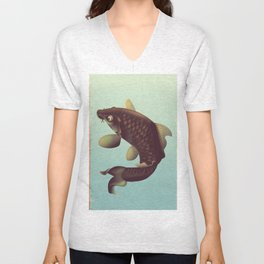 China Koi Vintage Stretched travel poster Unisex V-Neck