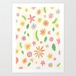Colourful Daisies Art Print