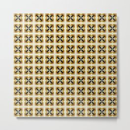 XFILE terra cotta honey gold brown X pattern Metal Print