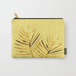 two Palm Leaves with yellow background Carry-All Pouch