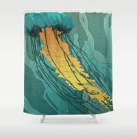 jellyfish Shower Curtains featuring Jellyfish  by Stranger Designs