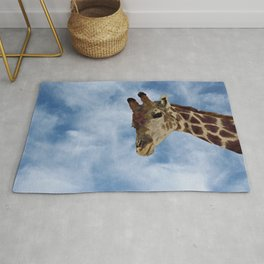 Giraffe Looking from Above Closeup Rug