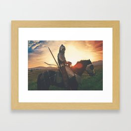 Armored Knight and Horse Framed Art Print