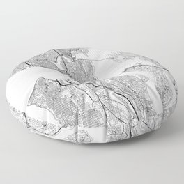 Seattle White Map Floor Pillow