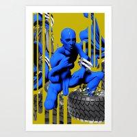 Blue Figure w. Descending Crotch and Foliage (III) Art Print