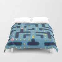 pacman Duvet Covers featuring RETRO GAME by Vickn