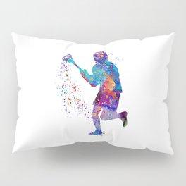 Lacrosse Boy Colorful Watercolor Art Sports Gift Pillow Sham