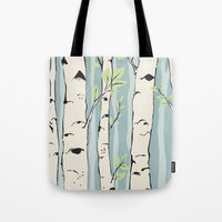 birch Tote Bags featuring Birch by Marlene Pixley