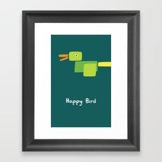 Happy Bird-Green Framed Art Print