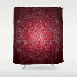 Ruby Red Lace Glow Shower Curtain