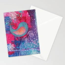 Whimsical Bird Mixed Media Stationery Cards