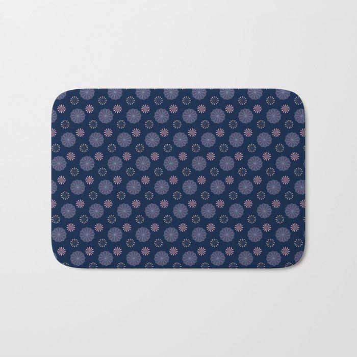 Pink and Blue Flowers on Dark Blue Bath Mat