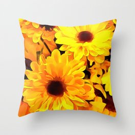 Daisies Yellow 3 Throw Pillow