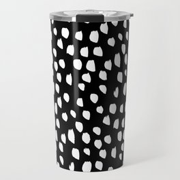 Handdrawn drops and dots on black - Mix & Match with Simplicty of life Travel Mug