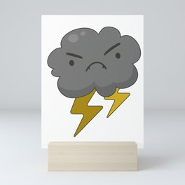 Angry Cloud with Lightning Thunderstorm Mini Art Print