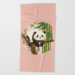 Panda under sunlight - Pink Beach Towel