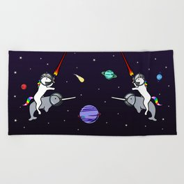 Unicorn Riding Narwhal In Space Beach Towel