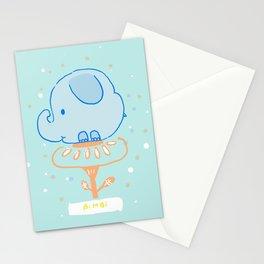 Elephant on Blue Backround Stationery Cards