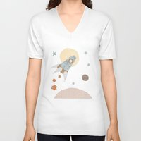 spaceship V-neck T-shirts featuring spaceship collage by flying bathtub