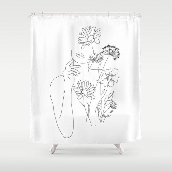 Minimal Line Art Woman with Flowers III Duschvorhang
