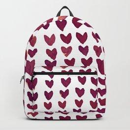 Brush stroke hearts - burgundy Backpack