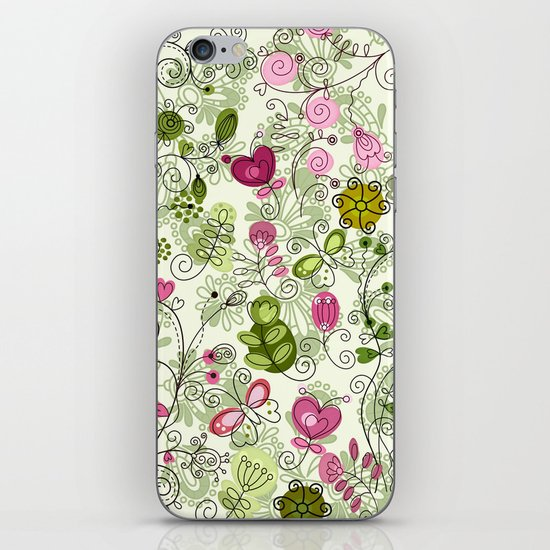 doodle flowers iPhone & iPod Skin