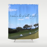 golf Shower Curtains featuring Golf by Rebecca Bear