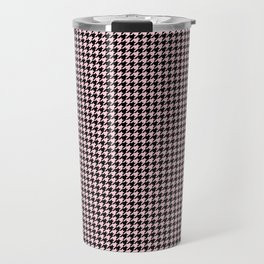 Soft Pastel Pink and Black Hounds tooth Check Travel Mug