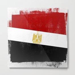 Egyptian Distressed Halftone Denim Flag Metal Print