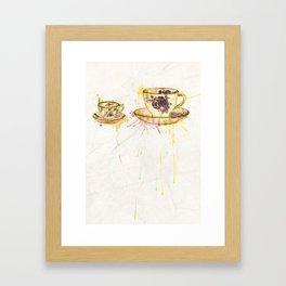 Watercolour Vintage Teacups – Big and Little Framed Art Print