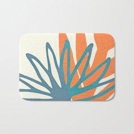 Mid Century Nature Print / Teal and Orange Bath Mat