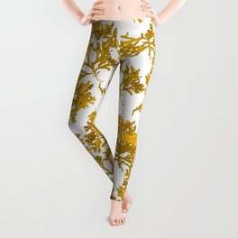 Ocre Seaweed Pattern Leggings