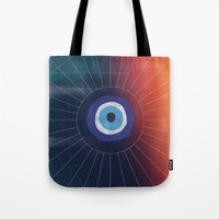 evil eye Tote Bags featuring Evil Eye by DuckyB